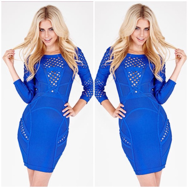 dress bodycon fall outfits mini royal blue hot royal blue dress couture