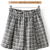 Black White Elastic Waist Plaid Skirt - Sheinside.com