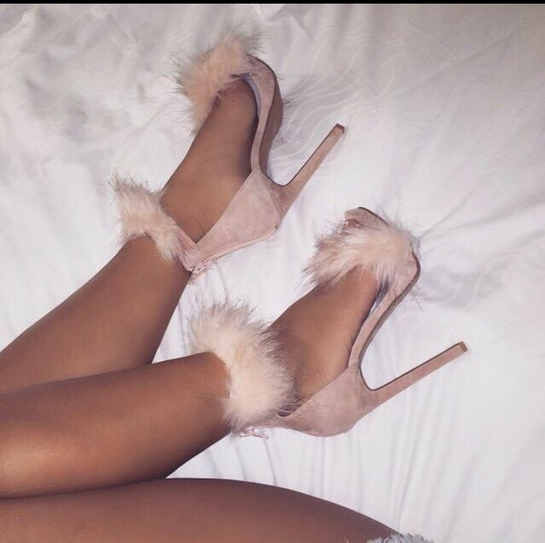 shoes pink fluffy heels nude sandal heels cute feathers