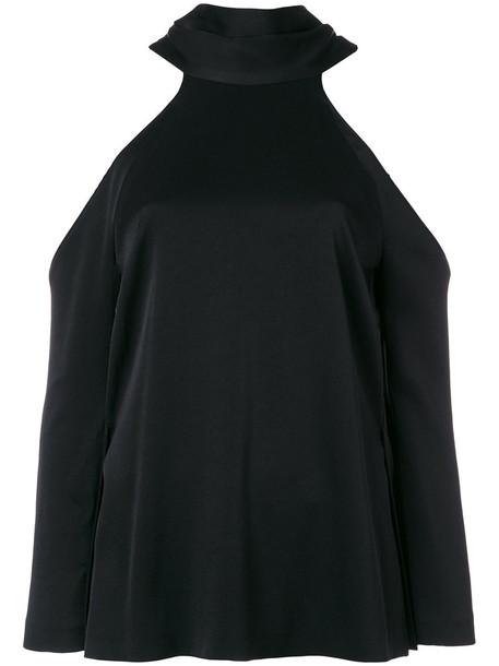 Galvan - sash neck longsleeved tunic - women - Polyamide/Triacetate - 40, Black, Polyamide/Triacetate