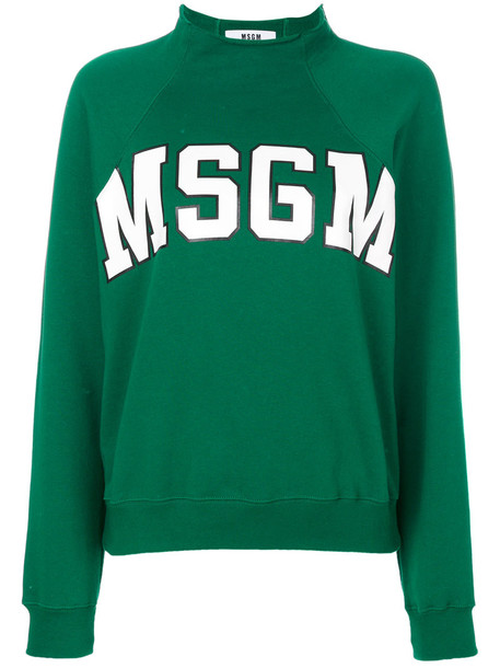 MSGM sweatshirt women cotton green sweater