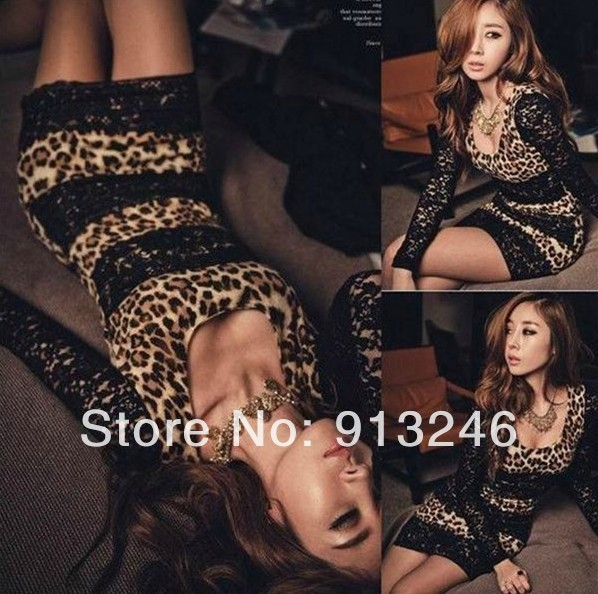 Sexy leopard lace dress nightclub | Amazing Shoes UK