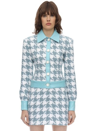 ROWEN ROSE Exclusive Checked Cotton Tweed Jacket Light Blue