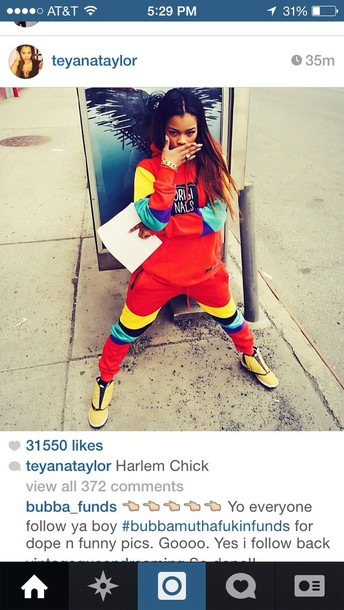 pants celebrity style steal teyana taylor sweater adidas joggers jacket trill outfit harlem hot shoes jumpsuit blouse adidas originals colorful dope joggers teyanataylor 90s style red style hoodie tracksuit the originals urban