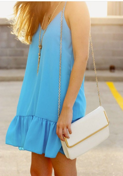 blue dress beach turquoise summer dress dress blue necklace purse