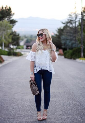 all dolled up blogger jewels bag sunglasses shoes off the shoulder white top lace top white lace top skinny jeans animal print wedges statement necklace summer outfits white off shoulder top monogrammed eyelet detail eyelet top off the shoulder top top tortoise shell tortoise shell sunglasses animal print bag pouch spring outfits