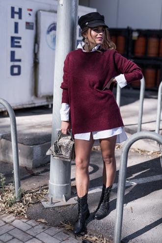 sweater tumblr burgundy burgundy sweater hat fisherman cap boots black boots shirt white shirt