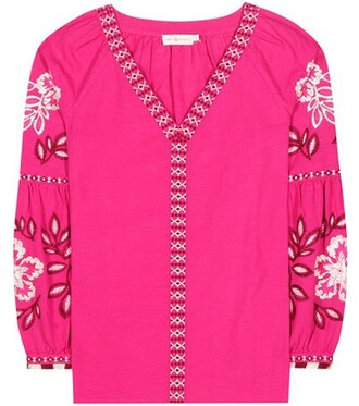 tunic embroidered cotton pink top