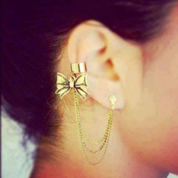 jewels swag girl gold earrings bows ear cuff