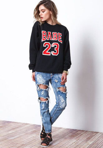 sweater babe it girl shop black sweater fashion vibe streetwear ripped jeans hipster streetstyle hippie style grunge lookbook urban distressed denim shorts trendy stylish fashion chic casual cool