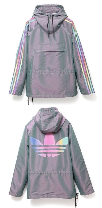 jacket adidas adidas originals adidas jacket holographic grey hoodie windbreaker sportswear parka rad