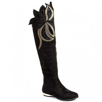 Couture London Black Gold Flat Knee-High Boots Suede