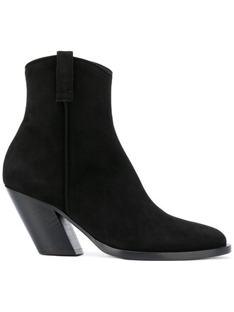 women boots leather suede black shoes