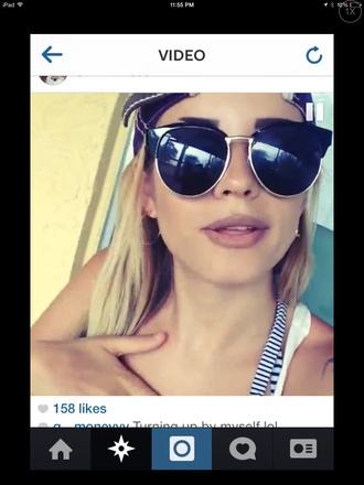 black sunglasses silver semi-cateye oversized