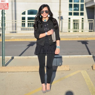 morepiecesofme blogger sunglasses jewels jacket t-shirt leggings shoes black jacket black jeans high heel pumps high heels