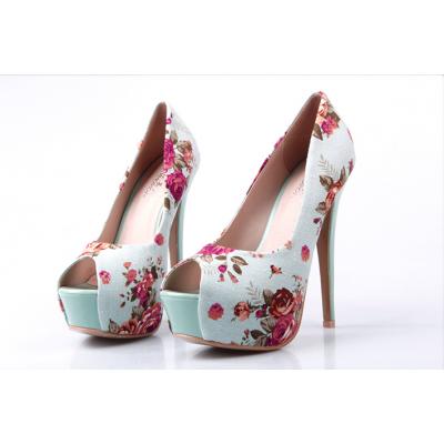 Buy Fashion Clothing -  15cm High Heel Fish Mouth Flower pattern Women's Shoes