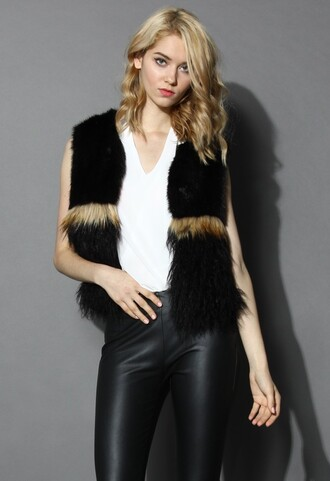 chicwish faux fur wild wild at heart vest