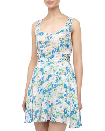 Lucca Couture Cutout Laced Floral Print Dress, Aqua Floral