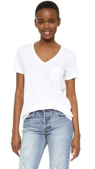 v neck white cotton top