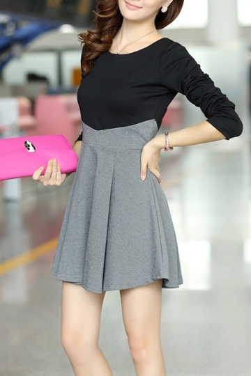Color Stitching Frilly Dress [FKCH0001]- US$35.99 - PersunMall.com