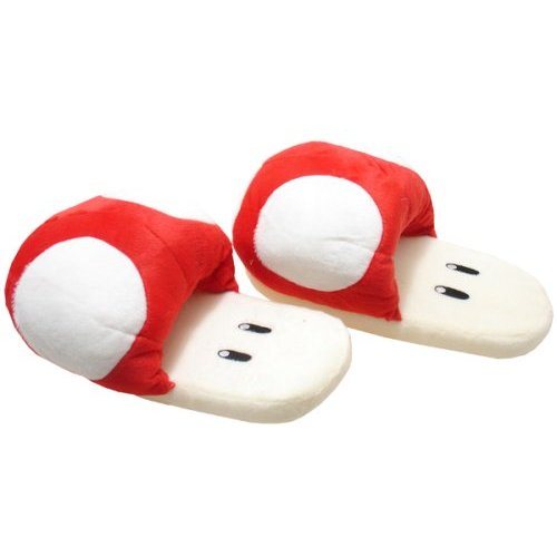 Amazon.com: super mario brothers mushroom red ver slippers plush: clothing