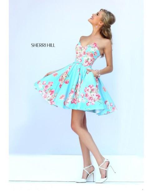 dress sherri hill floral blue dress