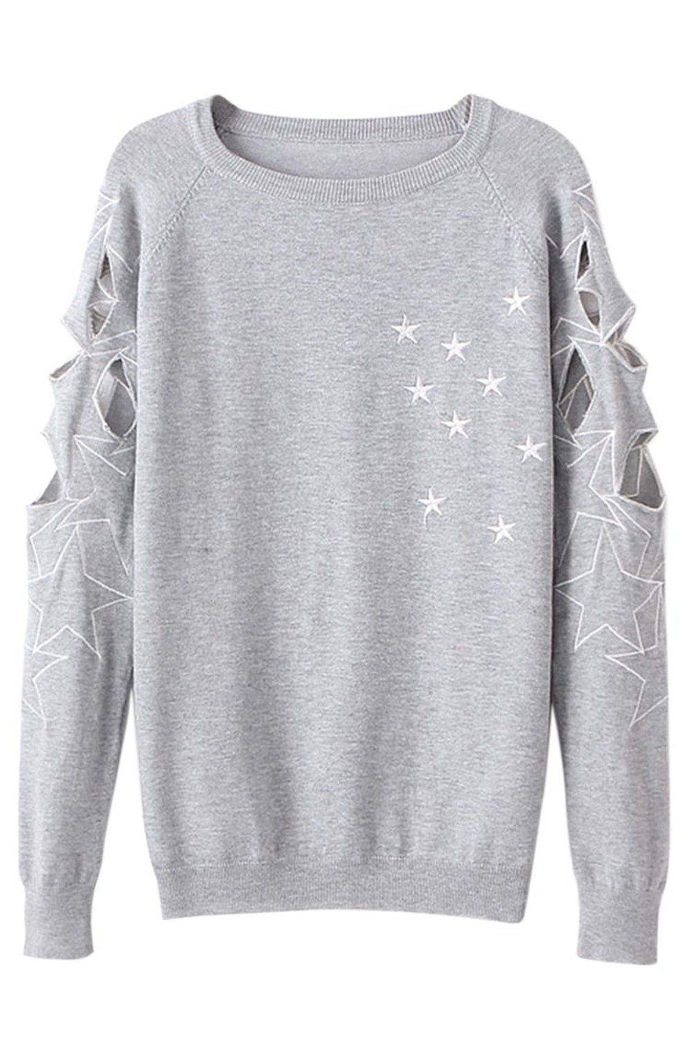 Pink queen embroidery stars hollow sleeve fleece sweaters round neck blouse tops at amazon women's clothing store: