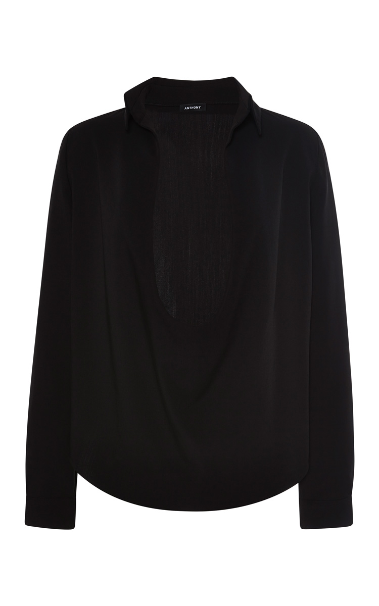 Decolete Black Shirt In Classic Fabric by Anthony Vaccarello - Moda Operandi