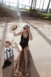 swimwear,hat,tumblr,one piece swimsuit,lace up,sun hat,bag,shoes