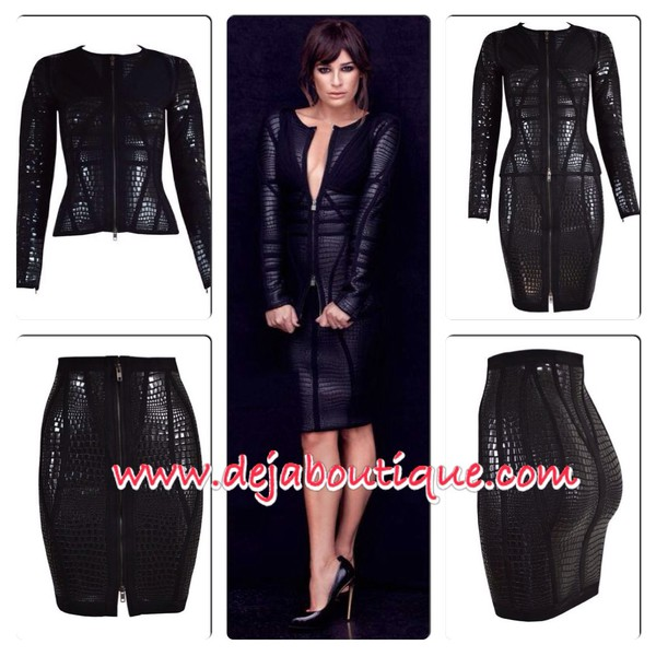 jacket two piece bandage dress set leather look