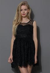 dress,lace,crochet,sleeveless,prom dress,black