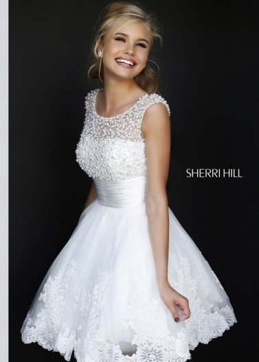 White Pearl Beaded Top Short A Line Embellished Sherri Hill 4302 Dress [Sherri Hill 4302 white] - $209.00 : Prom Dresses 2014 Sale, 70% off Dresses for Prom