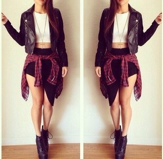 skirt black top jacket black and white crop tops fashion boots leather jacket leather flannel shirt