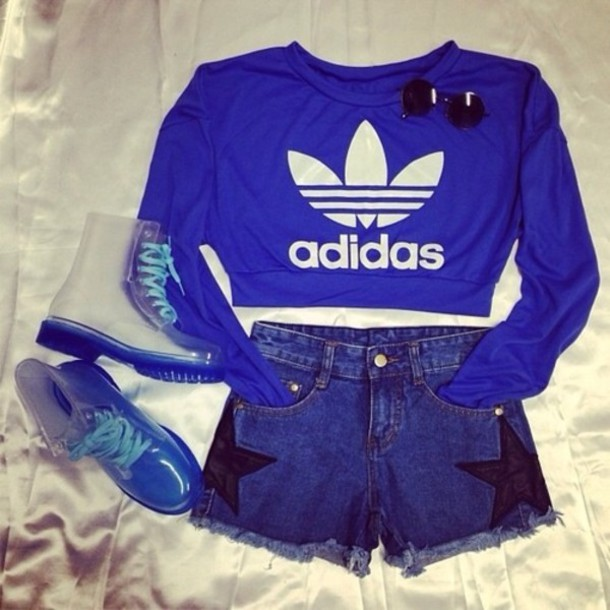 sweater, blue, cute, cute sweaters, adidas, sporty, comfy, swag, sexy  sweater, crop tops, shoes, shirt, blue white , Wheretoget