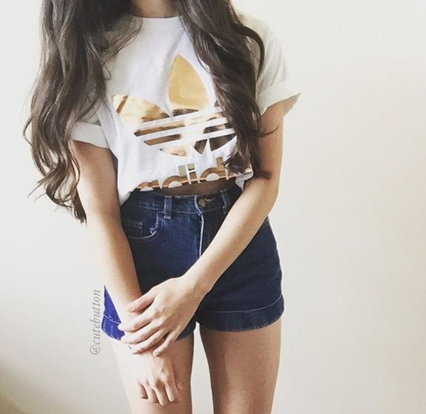 T Shirt Top Shirt Adidas Crop Tops Gold White