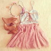 dress,shoes,hair accessory,hat,top,cute,weheartit,flower crown,white,boots,chiffon,pink,hippie,outfit,fashion,tie up,short dress,date dress,shirt,hipster,white top,bohemian,light pink dress,hippie dress,white dress,pink dress,lace dress,lace up dress,cute dress,skirt,dress pink