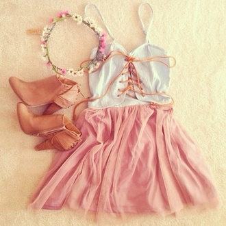 dress shoes hair accessory hat top cute weheartit flower crown white boots chiffon pink hippie outfit fashion tie up short dress date dress