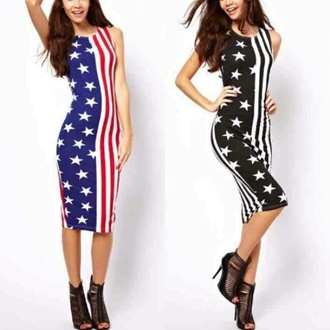 dress american flag stars and stripes bodycon dress pencil dress american dress patriotic dress
