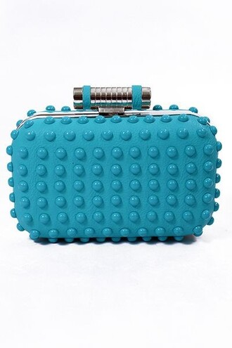 bag turquoise clutch holds a lot clutch cluch turquoise leather clutch box box clutch studs silver hard case chic evening look