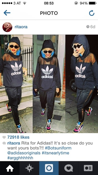 sweater adidas black rita ora hoodie pants sunglasses
