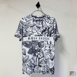 t-shirt print white black streetwear streetstyle clothes menswear fusion printed t-shirt urban menswear monochrome floral sada