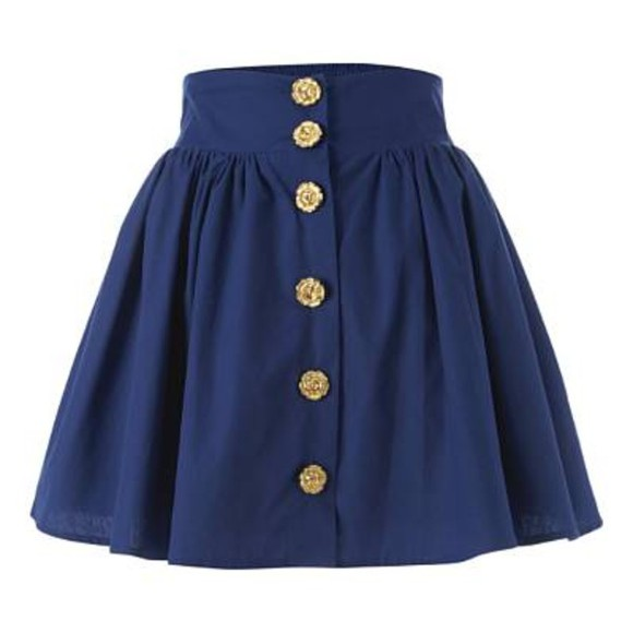 bag skirt gold buttons blue skirt buttons