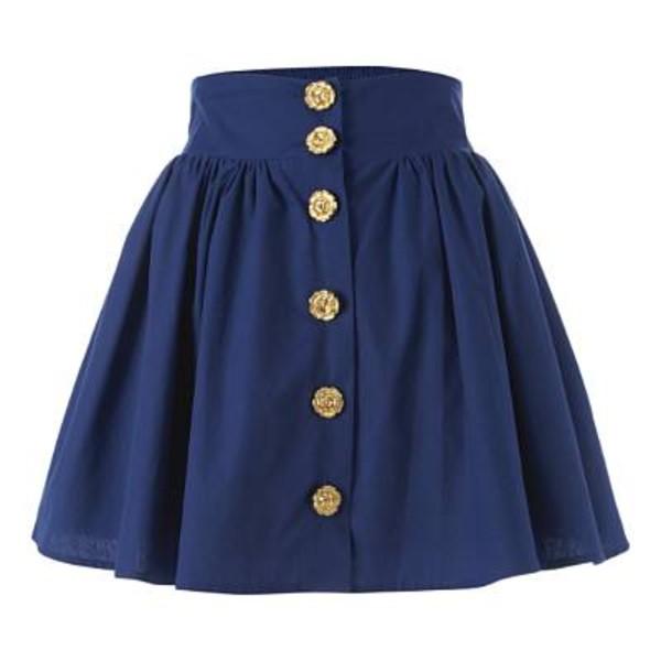 skirt blue skirt buttons gold buttons bag navy blue skirt