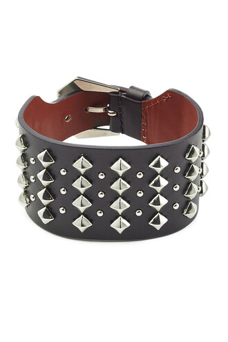 cuff embellished leather black jewels
