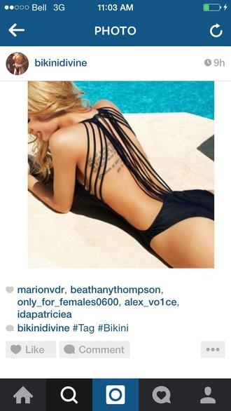 swimwear black back lace