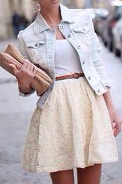 bag,beige bag,light blue,acid wash,light washed denim,denim jacket,brown belt,white,top,white top,cream,flowered skirt,cream skirt,cream flowered skirt,tank top,jacket,skirt,dress,mini dress,clutch