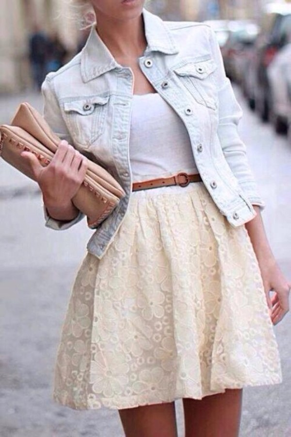 bag beige bag light blue acid wash light washed denim denim jacket brown belt white top white top cream flowered skirt cream skirt cream flowered skirt tank top jacket skirt dress denim jacket mini dress clutch