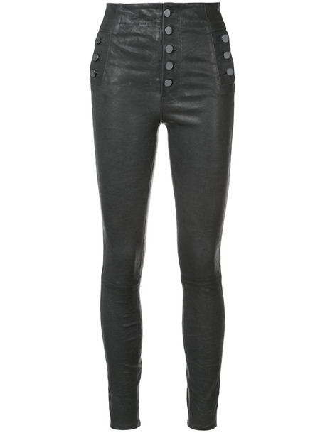 high women leather grey pants