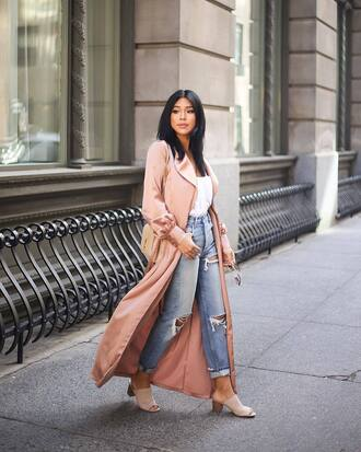 coat tumblr duster coat long coat pink coat denim jeans blue jeans ripped jeans shoes mules