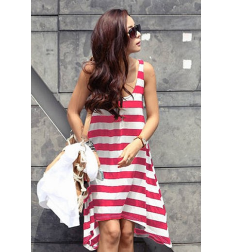 Striped A-line Beach Dress